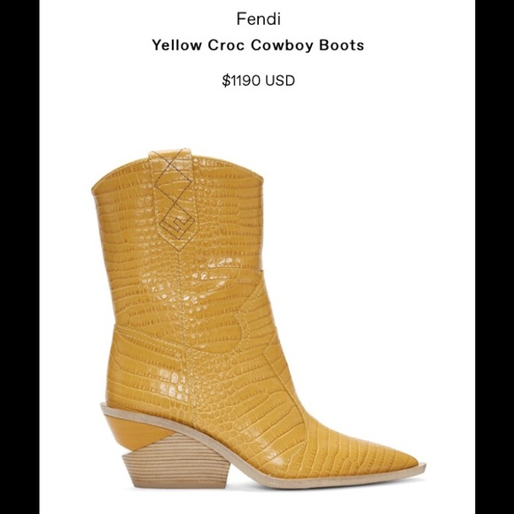6497ec9f893 Fendi Yellow cowboy boots